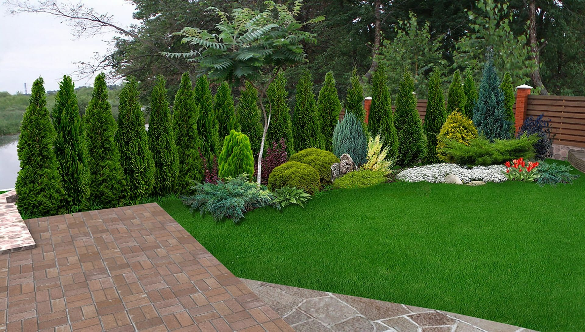 Design of backyard with privacy shrubs creating a landscape privacy screen