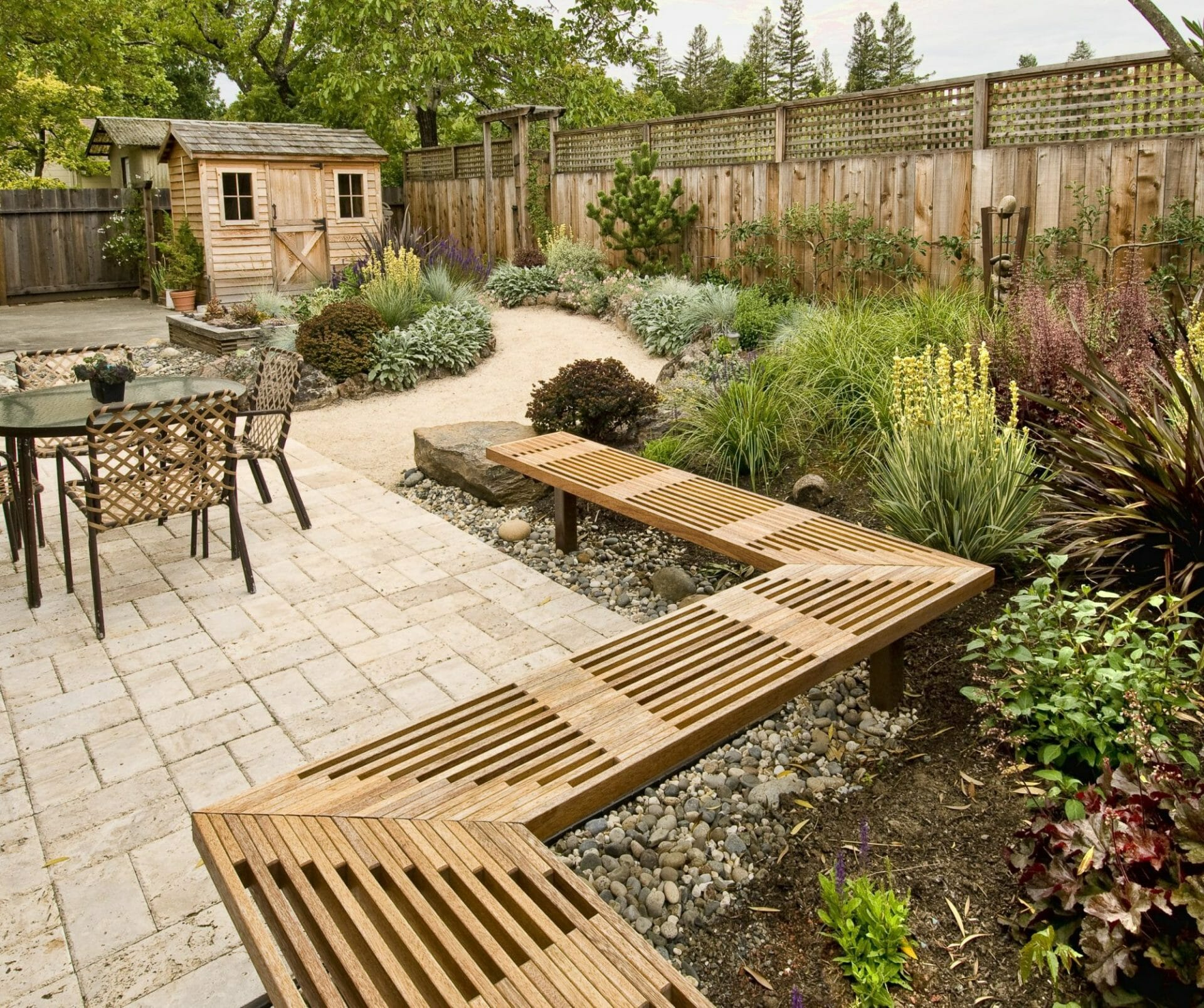 Backyard Landscape with Rock beds under seating